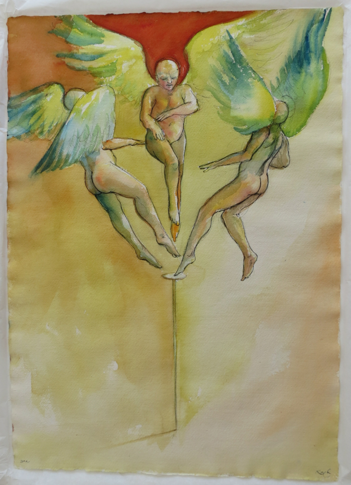 Original watercolor of 3 angels on the head of a pin. Michael Kuch.