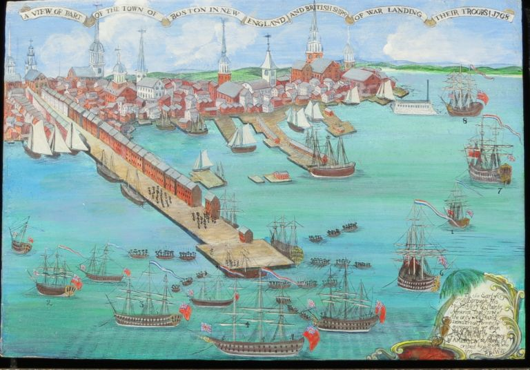 A VIEW OF PART OF THE TOWN OF BOSTON IN NEW ENGLAND AND BRITISH SHIPS OF WAR LANDING THEIR TROOPS! 1768. Joseph W. Reed, Paul Revere.