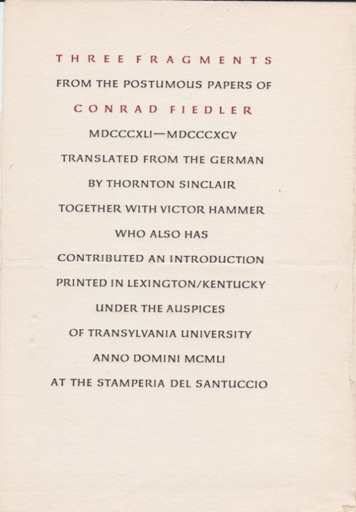 Three Fragments. From the Posthumous Papers of…. Conrad Fiedler.