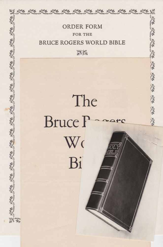 Announcement for THE WORLD BIBLE. Bruce Rogers.