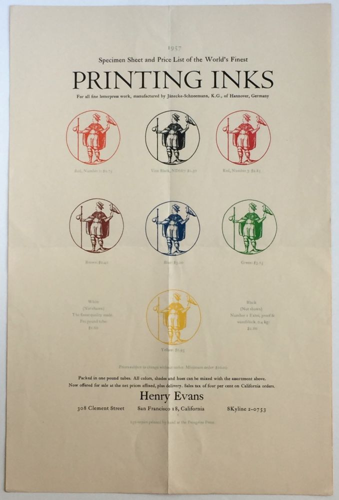 """""""Specimen Sheet and Price List of the World's Finest Printing Inks. Henry Evans."""