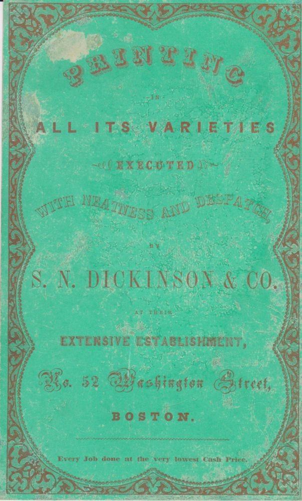 Large trade card. Dickinson, S. N. Co.