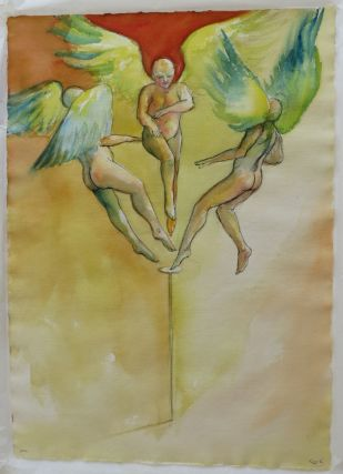 Original watercolor of 3 angels on the head of a pin. Michael Kuch