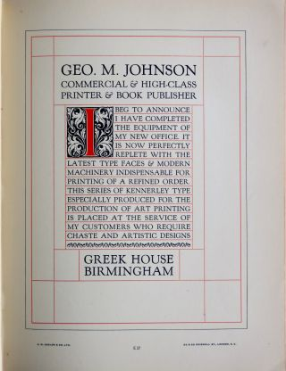 Specimens of Types & Borders and Illustrated Catalogue of Printers' Joinery and Materials.