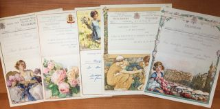 Five different, beautiful Belgian telegrams printed in colors and gold. Belgian Telegrams