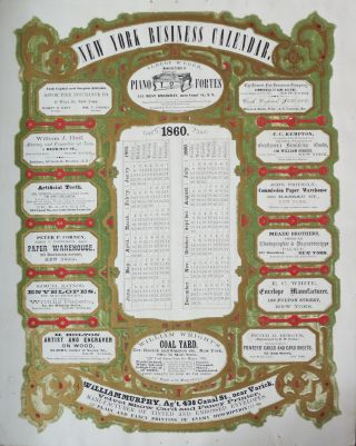 NEW YORK BUSINESS CALENDAR. 1860. Velvet Show Card Printer's Trade Card. William Murphy, Fancy...