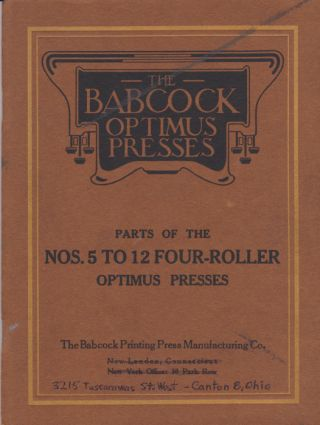 Babcock Optimus Press. Babcock printing Press Manuafacturing Co