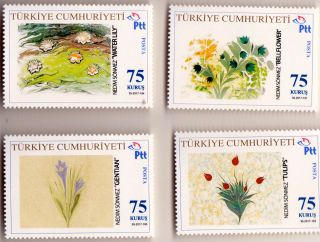 """Sönmez on Stamps I. """"Marbled Flowers."""""""