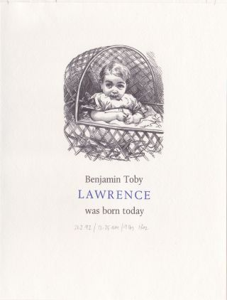 Birth announcement for Benjamin Toby, Simon Lawrence's son. Fleece Press