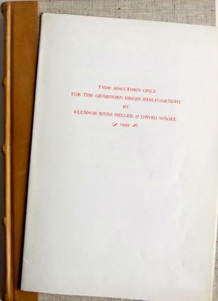 BIBLIOGRAPHY OF THE GRABHORN PRESS 1915-1940