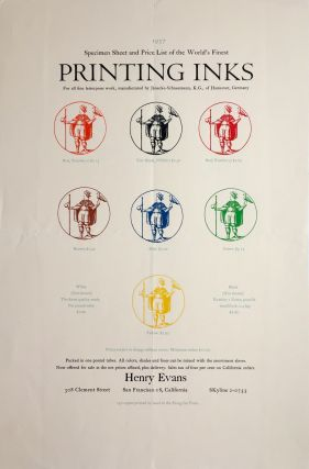 """Specimen Sheet and Price List of the World's Finest Printing Inks. Henry Evans"